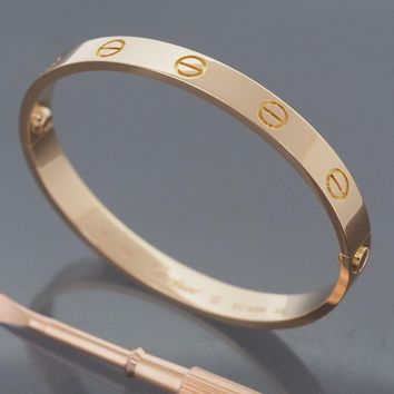 CARTIER 18K ROSE GOLD GORGEOUS LOVE BRACELET SIZE 16 WITH CERTIFICATE AND BOX