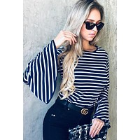 Bell Sleeve Striped Top - Navy