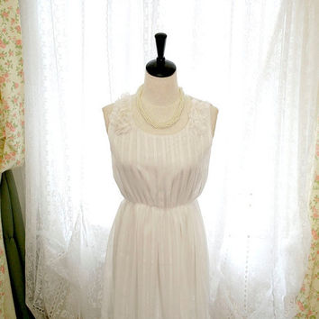 10% OFF SALE Wedding Chantilly Angel White Striped Pedals Shoulder Chiffon French Bridesmaid Dress - flower applique
