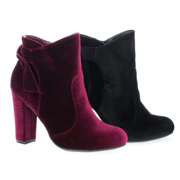 Hiltop48M Burgundy Velvet By Bamboo, Block Heel Ankle Booties W Bow
