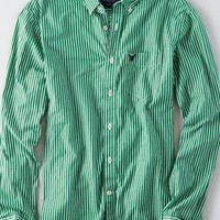 AEO Men's Poplin Striped Button Down Shirt