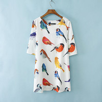 Birds Print Chiffon Short Sleeve Midi Shift Dress