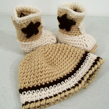 Baby Boy Cowboy Gift Set-Tan Brown and Ecru--Baby Shower Gift--#331