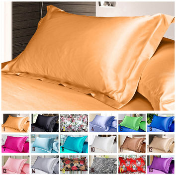 Simple Design Emulation Silk Satin Pillowcase Single Pillow Cover Multicolor 48*74cm