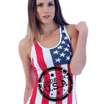 Made in USA American flag Women's Triblend Tanktop