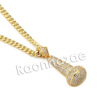 "Mens Iced Out Brass Gold Bling MIC Charm Pendant w/ 5mm 24"" 30"" Cuban Chain A09G"