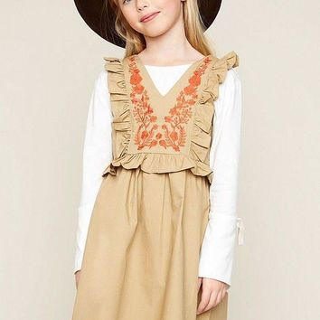 Hayden Los Angeles Embroidered Baby Doll Dress With Ruffle Sleeve Detail Girls