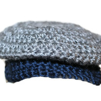 Crochet Blue & Gray Preemie Baby Boy Donegal Golf Hat Irish Newsboy Newsie Hat Photo Prop Photography Prop New Baby Gift Baby Shower Gift