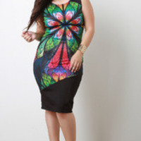 Women's Multicolor Wheat Bodycon Dress In Plus Sizes