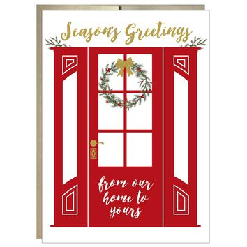 Wreath on Red Door Seasons Greetings Cards pack of 8