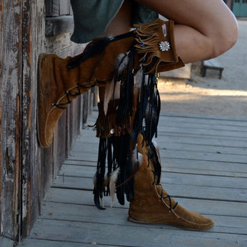 HOLIDAY SALE Custom Upcycled Embellished Vintage Moccasin Fringe Boots