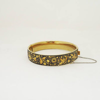 Vintage Damascene Bracelet, Damascene Cuff with Birds and Flower Ornate. Damascene Black and Gold Bracelet