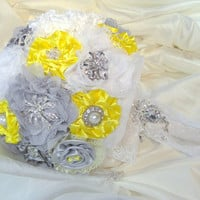 Ready to Ship Bridal Brooch Bouquet Yellow, Grey and White Handmade Large Gatsby Style Bouquet Vintage Shabby Chic Not a Deposit Shabby Chic