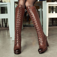 High Quality Sexy Winter Boots Designer Women Thigh High Boots New Lace Up Knee Corium Boot High Heel Retro Knight Boots
