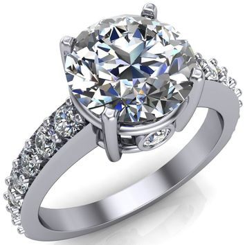 Melia Round Moissanite 4-Prong Pre-Notched Wire Basket Setting with Diamond Shoulder Solitaire Ring with Split Prongs
