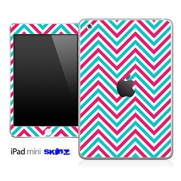 Pink/Blue Sharp Chevron Pattern Skin for the iPad Mini or Other iPad Versions