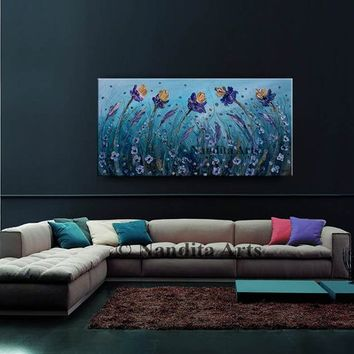"Abstract Floral Iris Painting, 48"" Flower Wall Art, ""Iris Beauty"", Blue Botanical Flower Home Decor, Oil painting on canvas By Nandita"