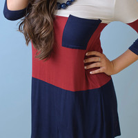 Open to Anything Tunic (Burgundy/ Navy) - Piace Boutique
