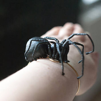black spider bracelet, fiberart, soft sculpture,