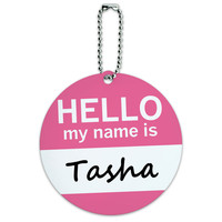 Tasha Hello My Name Is Round ID Card Luggage Tag