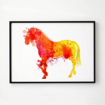 Wildlife art Animal watercolor Horse decor EM325