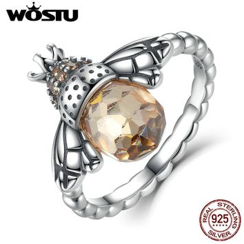 WOSTU Hot Authentic 100% 925 Sterling Silver Cute Bees Yellow CZ Crystal Rings for Women Wedding  Jewelry Accessories CQR025