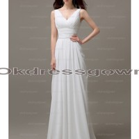 simple prom dress, long bridesmaid dress, white prom dress, chiffon bridesmaid dress, cheap prom dress, white bridesmaid dress, formal prom dress