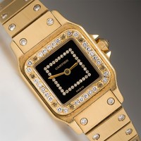 Ladies Cartier Diamond Wrist Watch 18K Gold