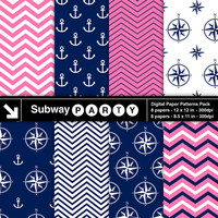 INSTANT DOWNLOAD Nautical Pink, Navy Blue and White Digital Papers Pack. Scrapbook / Invites / Card DIY 8x11 and 12x12 jpg.