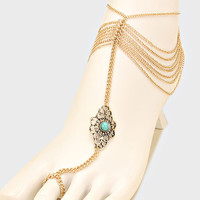 Turquoise Floral Beaded Fringe Barefoot Sandals, Delicate Boho Coin Foot Chain - Gold