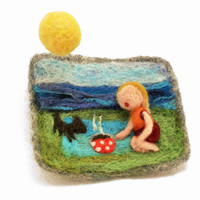 "felted brooch ""picnick """
