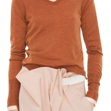 Acne Studios Lia V-Neck Wool Rust Sweater