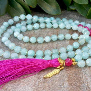 Zen Buddhist Prayer Beads - 108 Mala Tassel Necklace, Baby Blue, Pink Agate, Gemstone Necklace, Yoga, Buddhist, Meditation, Healing Energy