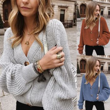 Women's Fashion, Leisure, Pure-color Button Knitted Sweaters, Openers and Sweaters