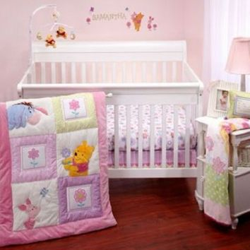Disney - Winnie the Pooh Sweet as Hunny 3pc Crib Baby Nursery Bedding Set Pink with Purple Green Accents