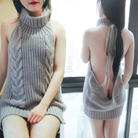 2018 Sexy Fashion Backless Turtleneck Sleeveless Long Sweater
