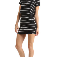 STRIPED DOUBLE LAYERED T-SHIRT DRESS