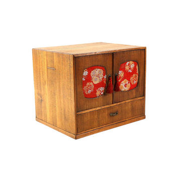 1950s Japanese Jewelry Cabinet, Silk Panels, Vintage Bamboo Box