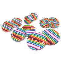 Buttons, mix set of colorful stripes buttons, polymer clay rainbow buttons, set of 10
