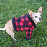Red Plaid Flannel Dog Hoodie by GypsyEyesClothing on Etsy