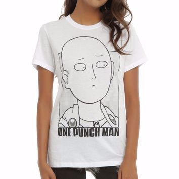 ANIME One Punch Man SAITAMA OUTLINE Girls T-Shirt NWT 100% Authentic