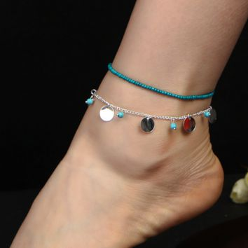 Bohemian Blue Turquoise Beaded Beaded Bead Combination Anklet Bracelet