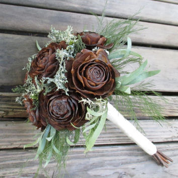 Woodland Wedding Bouquet  - Dried Flower Bouquet - Cedar Rose & Lichen - Bridesmaid or Flower  Girl