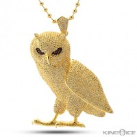 King Ice Gold CZ Owl Pendant | Hip Hop OvO Jewelry | Urban Style Pendant