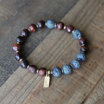 Red Tigers Eye Essential Oil Diffuser Bracelet, Aromatherapy Bracelet