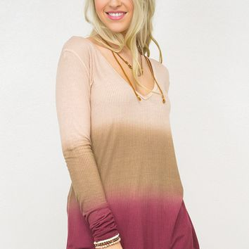 Dip Dyed Long Sleeve Lose Top