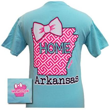 Arkansas Preppy State Chevron Comfort Colors Lagoon Blue Bright T Shirt