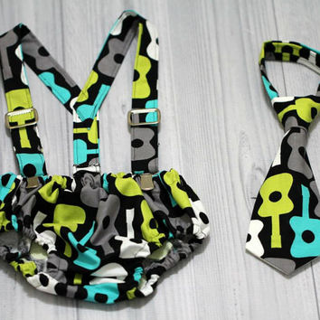 Boys Birthday or Wedding Diaper Cover, Tie and Suspenders - , cake smash - Groovy Guitars in Lagoon Teal, Lime, Black, White, Gray