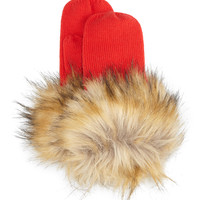 knit faux-fur-cuff mittens, red, Size: ONE SIZE - kate spade new york