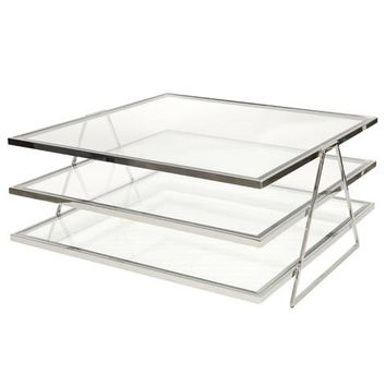 Worlds Away Jonathan 3 Tier Silver Leaf Coffee Table